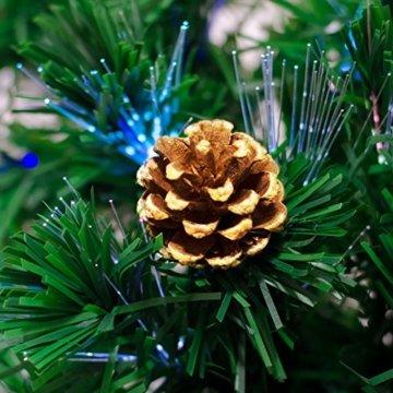 Künstlicher Glasfaser Weihnachtsbaum 150 cm mit LED Beleuchtung und echten vergoldete Zapfen Christbaum Tannenbaum - 5