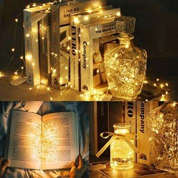 LED Lichterkette Batterie, 10 Stück 2M 20 Micro LEDs Lichterkette mit CR2032 Batterie Betrieb IP65 Wasserdicht String Fairy Light für Party, Garden, Christmas Dekor, Flasche DIY, Warmweiß - 2
