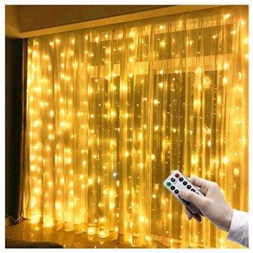 LED Lichtervorhang 3m x 3m, 300 LEDs USB Lichterkettenvorhang IP65 Wasserfest 8 Modi Lichterkette Warmweiß für Partydekoration Schlafzimmer Hochzeit Geburtstag Garten Fenster Innen und außen Deko - 1