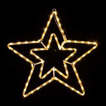LED Stern 55cm 72 LEDs leuchtet wahlweise warmweiß oder weiß 8 schaltbare Programme Weihnachtsbeleuchtung für Innen und Außen Weihnachtsdekoration Lichterschlauchfigur - 2