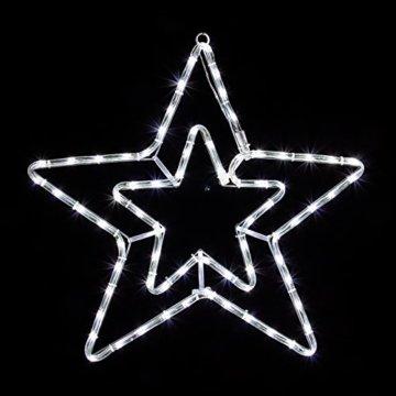 LED Stern 55cm 72 LEDs leuchtet wahlweise warmweiß oder weiß 8 schaltbare Programme Weihnachtsbeleuchtung für Innen und Außen Weihnachtsdekoration Lichterschlauchfigur - 3