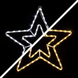 LED Stern 55cm 72 LEDs leuchtet wahlweise warmweiß oder weiß 8 schaltbare Programme Weihnachtsbeleuchtung für Innen und Außen Weihnachtsdekoration Lichterschlauchfigur - 1