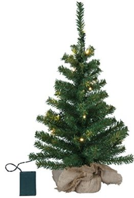 LED-Tannenbaum im Jute-Sack, ca. 60 cm x 32 cm, 20 warm white LED, Timer, Batterie - 1