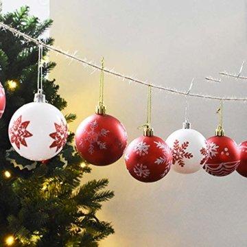 Leisial 24 Stücke 6CM Weiß Weihnachtskugel Weihnachtsbaum Anhänger Christbaumschmuck Weihnachten Anhänger Christbaumschmuck Kugeln - 2