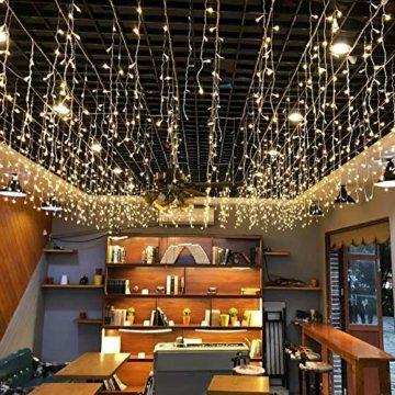 Lichterkette außen B-right 480 Led Lichterkette strombetrieben, Lichterkette warmweiß mit Fernbedienung, Lichterkette innen Lichtervorhang Weihnachtsbeleuchtung für Weihnachten Balkon Hochzeit Party - 3