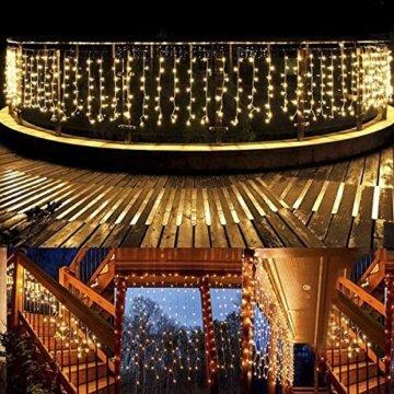 Lichterkette außen B-right 480 Led Lichterkette strombetrieben, Lichterkette warmweiß mit Fernbedienung, Lichterkette innen Lichtervorhang Weihnachtsbeleuchtung für Weihnachten Balkon Hochzeit Party - 4