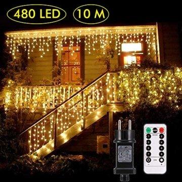 Lichterkette außen B-right 480 Led Lichterkette strombetrieben, Lichterkette warmweiß mit Fernbedienung, Lichterkette innen Lichtervorhang Weihnachtsbeleuchtung für Weihnachten Balkon Hochzeit Party - 1