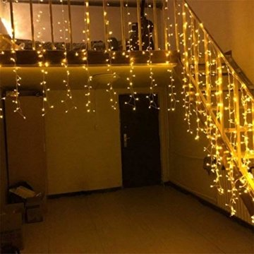 Lichterkette außen B-right 480 Led Lichterkette strombetrieben, Lichterkette warmweiß mit Fernbedienung, Lichterkette innen Lichtervorhang Weihnachtsbeleuchtung für Weihnachten Balkon Hochzeit Party - 6