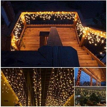 Lichterkette außen B-right 480 Led Lichterkette strombetrieben, Lichterkette warmweiß mit Fernbedienung, Lichterkette innen Lichtervorhang Weihnachtsbeleuchtung für Weihnachten Balkon Hochzeit Party - 9