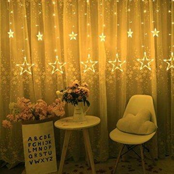 Lichterkette mit LED Kugel weihnachtsdeko,12 Sterne Lichtervorhang, Weihnachts-Innenbeleuchtung, Lichterketten für Innenräume, 8 Modi Innen & Außenlichterkette Wasserdicht, Warmweiß Sternenvorhang - 4