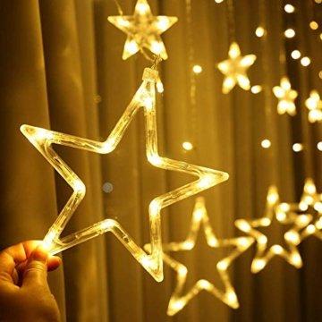 Lichterkette mit LED Kugel weihnachtsdeko,12 Sterne Lichtervorhang, Weihnachts-Innenbeleuchtung, Lichterketten für Innenräume, 8 Modi Innen & Außenlichterkette Wasserdicht, Warmweiß Sternenvorhang - 5
