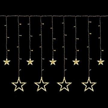 Lichterkette mit LED Kugel weihnachtsdeko,12 Sterne Lichtervorhang, Weihnachts-Innenbeleuchtung, Lichterketten für Innenräume, 8 Modi Innen & Außenlichterkette Wasserdicht, Warmweiß Sternenvorhang - 6