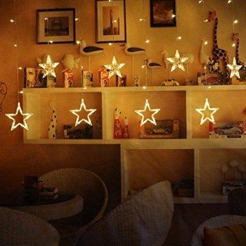 Lichterkette mit LED Kugel weihnachtsdeko,12 Sterne Lichtervorhang, Weihnachts-Innenbeleuchtung, Lichterketten für Innenräume, 8 Modi Innen & Außenlichterkette Wasserdicht, Warmweiß Sternenvorhang - 7