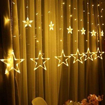 Lichterkette mit LED Kugel weihnachtsdeko,12 Sterne Lichtervorhang, Weihnachts-Innenbeleuchtung, Lichterketten für Innenräume, 8 Modi Innen & Außenlichterkette Wasserdicht, Warmweiß Sternenvorhang - 10