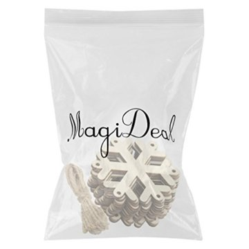 MagiDeal 10 Stück Schneeflocke Holz Geschenk Anhänger Basteln Gift Anhängeetiketten Weihnachtsbaumschmuck - 2