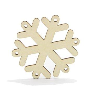 MagiDeal 10 Stück Schneeflocke Holz Geschenk Anhänger Basteln Gift Anhängeetiketten Weihnachtsbaumschmuck - 3