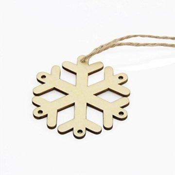 MagiDeal 10 Stück Schneeflocke Holz Geschenk Anhänger Basteln Gift Anhängeetiketten Weihnachtsbaumschmuck - 4