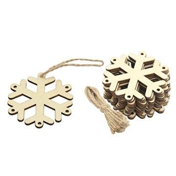 MagiDeal 10 Stück Schneeflocke Holz Geschenk Anhänger Basteln Gift Anhängeetiketten Weihnachtsbaumschmuck - 1