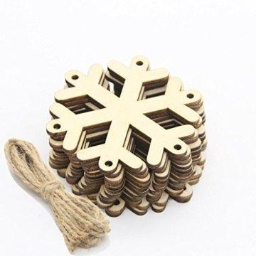 MagiDeal 10 Stück Schneeflocke Holz Geschenk Anhänger Basteln Gift Anhängeetiketten Weihnachtsbaumschmuck - 5