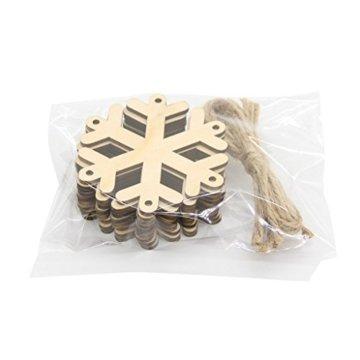 MagiDeal 10 Stück Schneeflocke Holz Geschenk Anhänger Basteln Gift Anhängeetiketten Weihnachtsbaumschmuck - 7