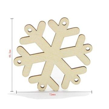 MagiDeal 10 Stück Schneeflocke Holz Geschenk Anhänger Basteln Gift Anhängeetiketten Weihnachtsbaumschmuck - 8