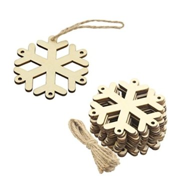 MagiDeal 10 Stück Schneeflocke Holz Geschenk Anhänger Basteln Gift Anhängeetiketten Weihnachtsbaumschmuck - 9