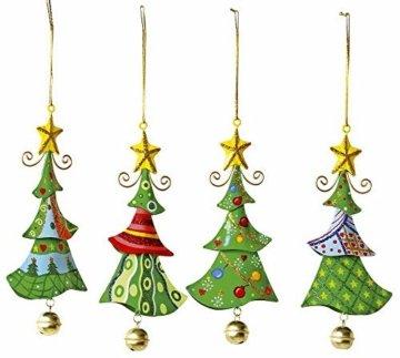 """Metallanhänger """"Tannenbaum"""", Weihnachtsartikel / Dekoartikel 4er Set in Tannenbaum-Form, schöne Weihnachtsdekoration am Weihnachtsbaum, Fenster oder Türgesteck - 1"""