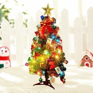 Mini Weihnachtsbaum Puppenhaus Geschmückt, Buntes Glühen Mini Weihnachtsbaum Geschmückt, Christbaum Grün, Geeignet Für Weihnachtsdekoration, Heimtextilien - 3