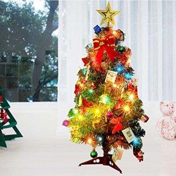 Mini Weihnachtsbaum Puppenhaus Geschmückt, Buntes Glühen Mini Weihnachtsbaum Geschmückt, Christbaum Grün, Geeignet Für Weihnachtsdekoration, Heimtextilien - 5