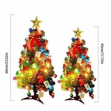 Mini Weihnachtsbaum Puppenhaus Geschmückt, Buntes Glühen Mini Weihnachtsbaum Geschmückt, Christbaum Grün, Geeignet Für Weihnachtsdekoration, Heimtextilien - 6