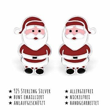 Monkimau Mädchen Ohrringe Weihnachtsmann Doppel Ohrstecker aus 925 Sterling Silver echt Silber mit Ohrhänger - 3