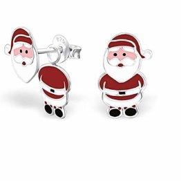 Monkimau Mädchen Ohrringe Weihnachtsmann Doppel Ohrstecker aus 925 Sterling Silver echt Silber mit Ohrhänger - 1