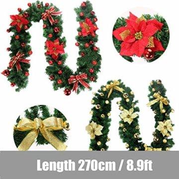 Morbuy Weihnachtsgirlande mit Beleuchtung, Tannengirlande Remote 8 Modus Lichterkette Weihnachten Dekoration 2.7 Meter für Innen und Außen Verwendbar (Rot) - 3