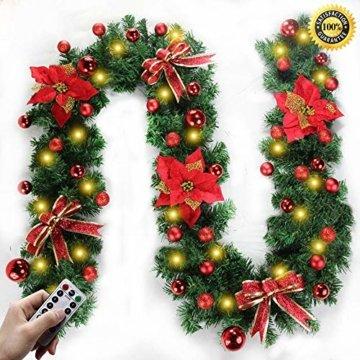 Morbuy Weihnachtsgirlande mit Beleuchtung, Tannengirlande Remote 8 Modus Lichterkette Weihnachten Dekoration 2.7 Meter für Innen und Außen Verwendbar (Rot) - 1