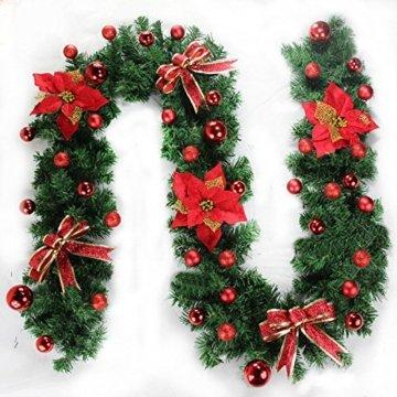 Morbuy Weihnachtsgirlande mit Beleuchtung, Tannengirlande Remote 8 Modus Lichterkette Weihnachten Dekoration 2.7 Meter für Innen und Außen Verwendbar (Rot) - 5