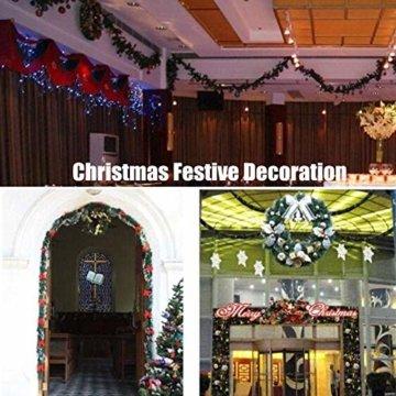 Morbuy Weihnachtsgirlande mit Beleuchtung, Tannengirlande Remote 8 Modus Lichterkette Weihnachten Dekoration 2.7 Meter für Innen und Außen Verwendbar (Rot) - 7