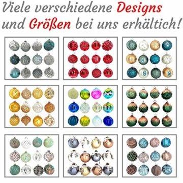 My-goodbuy24 Premium Weihnachtskugeln 12-teiliges Set Echtglas Glaskugeln Weihnachten Weihnachtsdeko Tannenbaumkugeln Glas Christbaumkugeln 7-8 cm I196 - 3