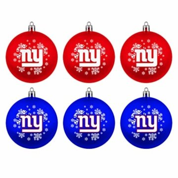New York Giants Boelter Brands NFL Weihnachtskugeln 6er-Set - 1