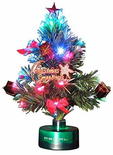 PEARL LED Weihnachtsbaum klein: LED-Weihnachtsbaum mit Glasfaser-Farbwechsler (Mini Weihnachtsbaum fürs Auto) - 4