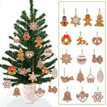 Pixnor Weihnachtsbaumschmuck, Kekse, Schneeflocke, Dekoration mit Aufhängern, Pack mit 17 Stück - 2
