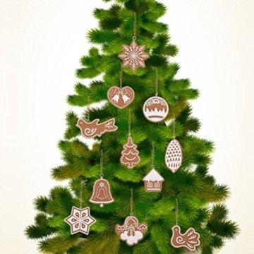 Pixnor Weihnachtsbaumschmuck, Kekse, Schneeflocke, Dekoration mit Aufhängern, Pack mit 17 Stück - 3