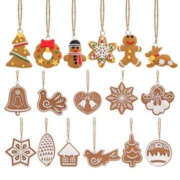 Pixnor Weihnachtsbaumschmuck, Kekse, Schneeflocke, Dekoration mit Aufhängern, Pack mit 17 Stück - 1