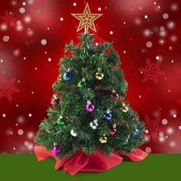 Prextex 56cm Mini-Weihnachtsbaum Set für Tische mit Stern-Baumspitze und hängendem Baumschmuck für DIY-Weihnachtsdekoration - 2