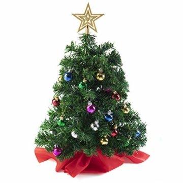 Prextex 56cm Mini-Weihnachtsbaum Set für Tische mit Stern-Baumspitze und hängendem Baumschmuck für DIY-Weihnachtsdekoration - 3