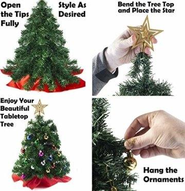 Prextex 56cm Mini-Weihnachtsbaum Set für Tische mit Stern-Baumspitze und hängendem Baumschmuck für DIY-Weihnachtsdekoration - 4