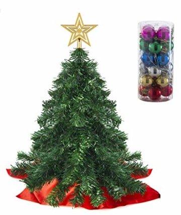 Prextex 56cm Mini-Weihnachtsbaum Set für Tische mit Stern-Baumspitze und hängendem Baumschmuck für DIY-Weihnachtsdekoration - 1