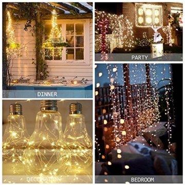 Qedertek Lichterkette Weihnachtsbaum, 200 LED Warmweiß Lichterkette Außen mit Steckdose, 20M Weihnachtsbeleuchtung mit Fernbedienung, Timer und Speicherfunktion, Weihnachtsdekoration für Garten - 2