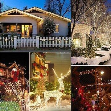 Qedertek Lichterkette Weihnachtsbaum, 200 LED Warmweiß Lichterkette Außen mit Steckdose, 20M Weihnachtsbeleuchtung mit Fernbedienung, Timer und Speicherfunktion, Weihnachtsdekoration für Garten - 3