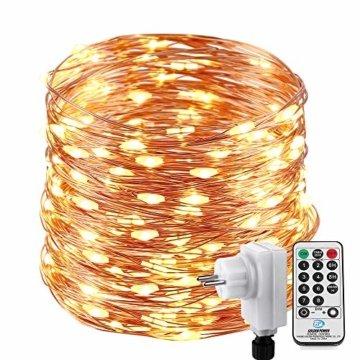 Qedertek Lichterkette Weihnachtsbaum, 200 LED Warmweiß Lichterkette Außen mit Steckdose, 20M Weihnachtsbeleuchtung mit Fernbedienung, Timer und Speicherfunktion, Weihnachtsdekoration für Garten - 1