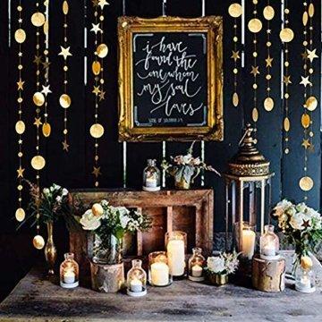 Queta 3x4m Sterne Runde Girlande Wunderschöne Papier Girlande Goldene Sterne Runde Bunting Banner Hangedekoration für Fenster,Wand,Kinderzimmer,Party,Geburtstag,Hochzeit,Weihnachten - 2
